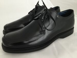 BACCO-BUCCI-Black-Leather-Lace-Up-Apron-Toe-Oxfords-Shoes-Size-10