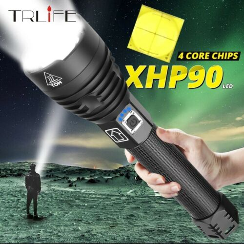 XHP90 Flashlight  Very Bright 18650 26650 USB Rechargeable Zoom Torch Waterpr