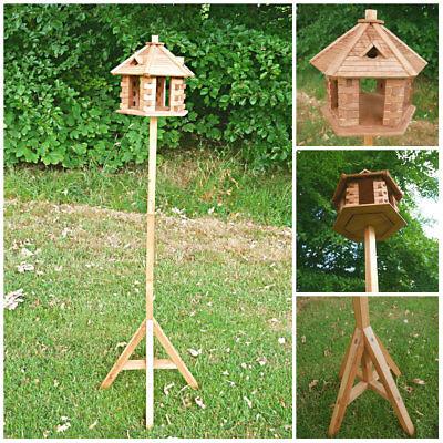 Large Rustic Wooden Gazebo Bird Feeder Decorative Garden Bird Table