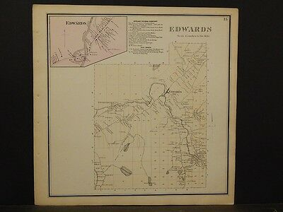 St Amiable New York Lawrence County Map Edwards Township 1865 Y5#54