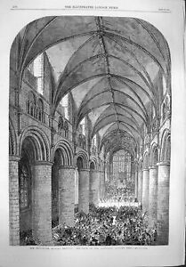 Original-Old-Antique-Print-1865-Gloucester-Musical-Festival-Nave-Cathedral-19th