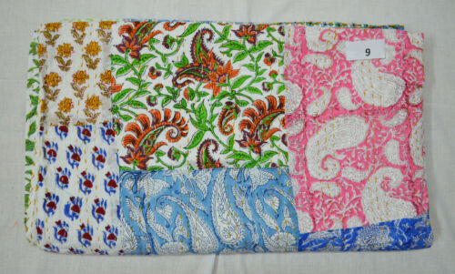 Indian Cotton Kantha Quilt Twin Hand Block Printed Assorted Patchwork Bedspread
