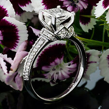 1 CT Natural Diamond Engagement Ring Princess Cut D/VS2 14K White Gold Enhanced