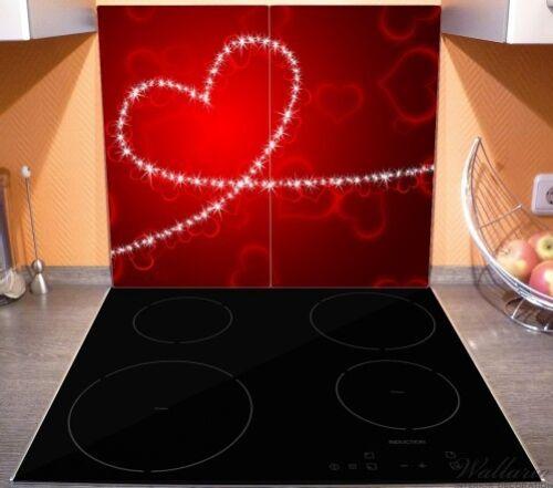 Wallario Herdabdeckplatte 2-teilig aus Glas 60x52cm Leuchtendes Herz aus