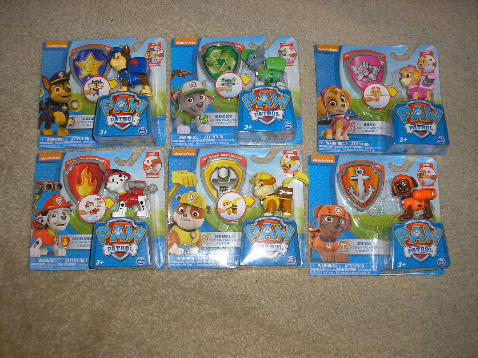 Brand New Paw Patrol Action Pack Pup & Badge Sets Zuma Rocky Skye Rubble Chase