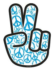Blue PEACE Hand with Hippy Style Motif Car Sticker Decal fits Dub VW Camper Van