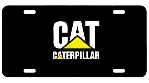 License Plate New Car Tag Metal Black Caterpillar Logo CAT Black USA