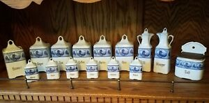 Vintage-JB-amp-W-Germany-Blue-and-White-Canister-Set-29-total-pieces-1950-039-s