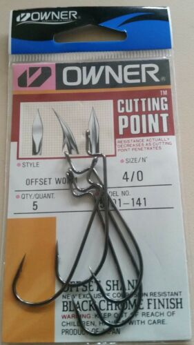Owner 5101-141 size 4//0 Offset Worm  Bass Fishing Hooks qty 5