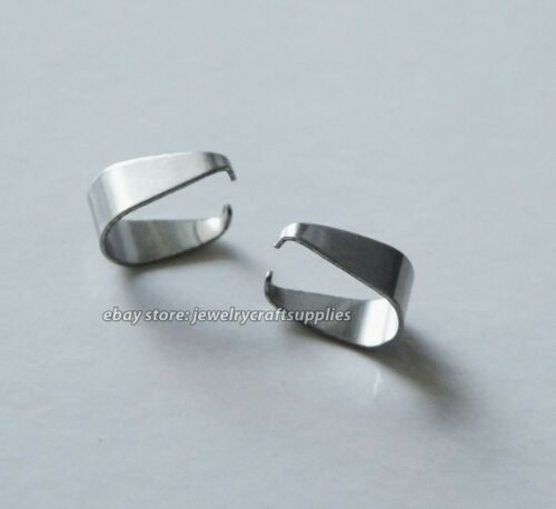10x Stainless Steel Pinch Clip Pendant Bails for Jewelry Making Connectors  C360