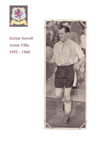 JACKIE SEWELL ASTON VILLA 19551960 RARE ORIG HAND SIGNED PICTURE VERY GOOD CON