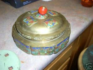 Very-old-brass-enamel-dish-with-lid-China
