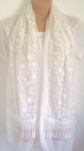 Exquisite Scarf Wrap Cover up Chiffon With Stunning Floral Lace Overlay Summer