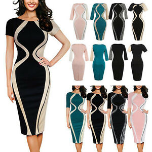 New-Elegant-Women-Floral-Bodycon-Office-Evening-Cocktail-Party-Pencil-Slim-Dress