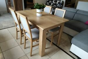 Details About Modern Wooden Dining Table With 4 Chairs In Light Wood Colour Oak Burlington