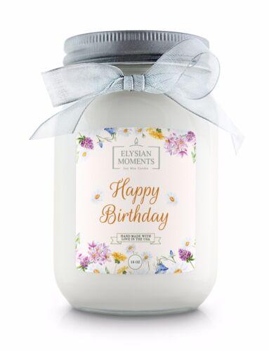 Elysian Moments 16 oz mason jar GIFT candle Soy Wax Candle HAPPY BIRTHDAY