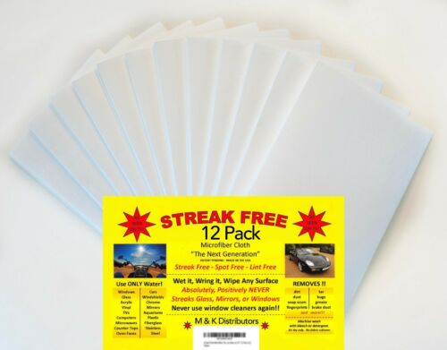 "12 Pack Streak Free Microfiber Cleaning Cloths /""As Seen on TV/"" Uses Just Water"