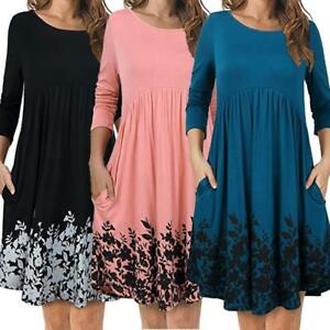 Fashion-Women-T-Shirt-Dress-With-Pockets-Long-Sleeve-Floral-Pleated-Swing-Dress