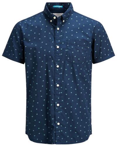 JACK /& JONES Cambridge Short Sleeve Shirt New Men Cotton Slim Fit Smart Shirts