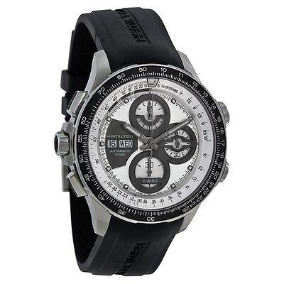 Hamilton X-Wind Khaki Automatic Chronograph Silver Dial Black Rubber Mens Watch