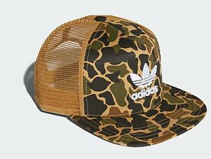 dc48c048fa7 Image is loading Adidas-originals-trefoil-camo-trucker-cap-hat-mesh-