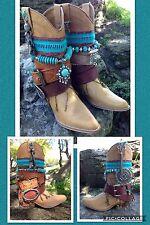 UPCYCLED Cowboy boots Gypsy Boho Hippy Festival  UK 4 BESPOKE