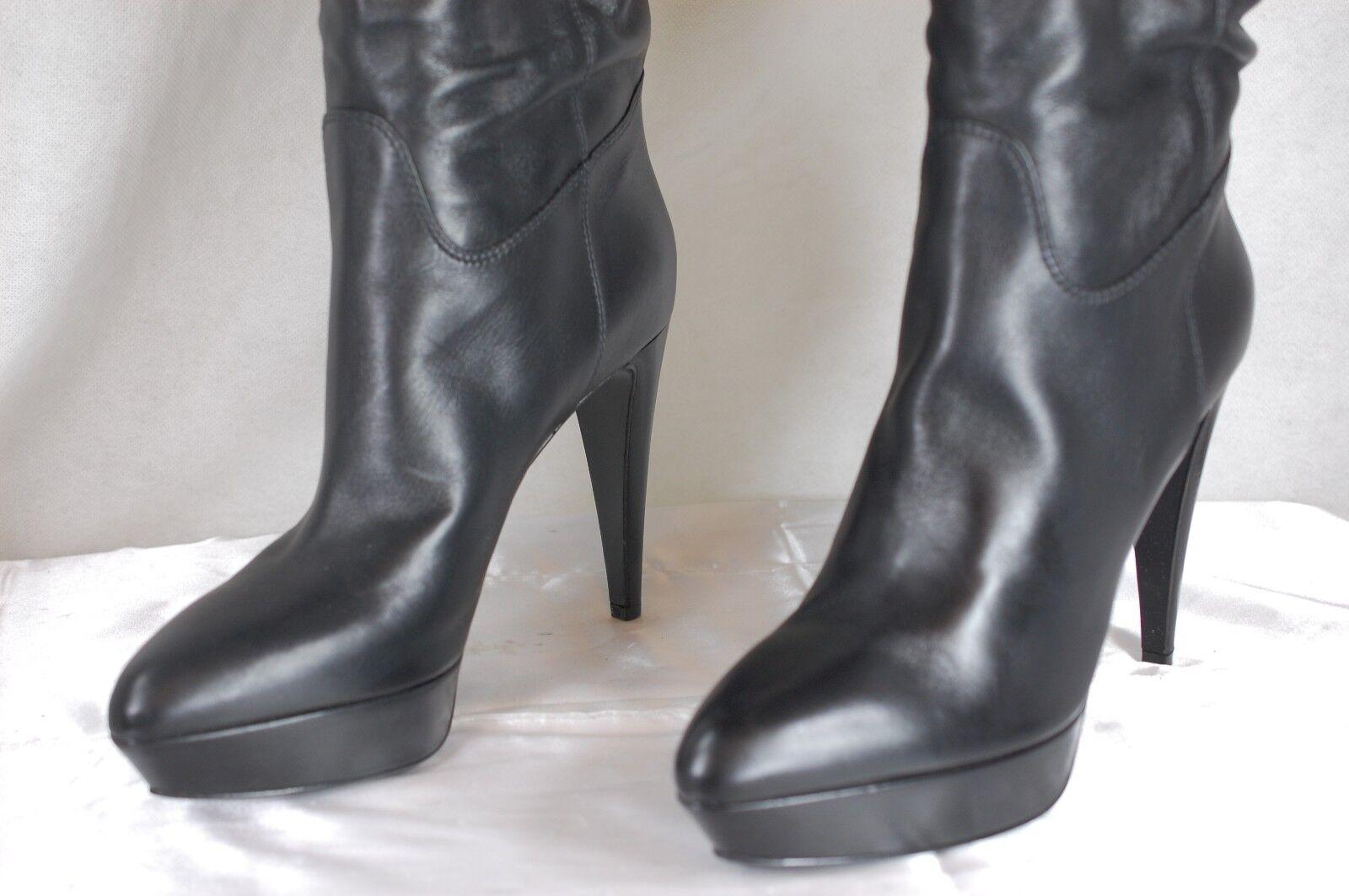 SUPER SEXY SERGIO ROSSI 'VERONICA' SLOUCH schwarz LEATHER Stiefel EU EU EU 40 US 10 97073c