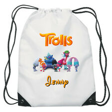 All The Characters from Trolls Drawstring Swimming, School, PE Bag Personalised