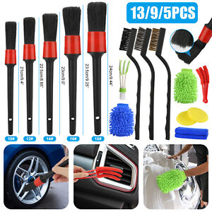 13/9/5pcs Car Detail Brush Wash Auto Detailing Cleaning Kit Engine Wheel Brushes