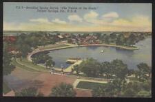 Postcard TARPON SPRINGS FL Local Area Bayou Circle Bird's Eye Aerial view 1930's