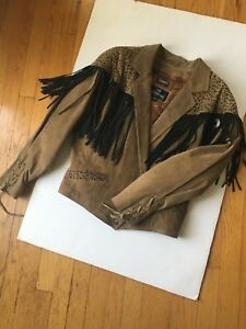 Suede Vintage Brown Jacket Large Bermans Animal Bomber Biker Coat Fringe Print 1dqdPrn