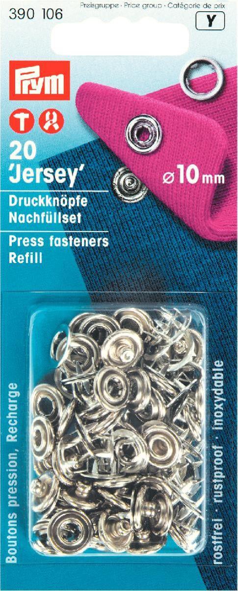 Prym Nähfrei-Nachfüllpackung ohne Werkzeug 10 mm silberfarbig 20 St 390106