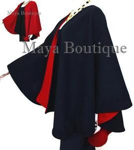 Reversible-Cape-Ruana-Wrap-Coat-Black-amp-Red-Cashmere-Wool-USA-Made-Maya-Matazaro