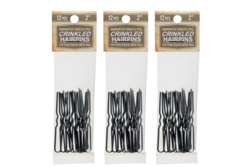 "Amish Made Heavy Duty  2/"" Crinkled  /""Stainless Steel Hairpins  3 PACKS"