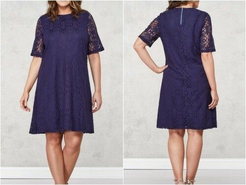 Mela London Curve Spitzentunika Kleid Navy UK UK UK 24 Us 20 Eu 52 (WB8) 9fc192