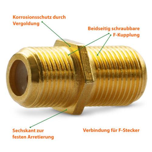 HD Sat F Stecker Verbinder 4 Stecker 2 Kupplung vergoldet Doppel Buchse TV Kabel
