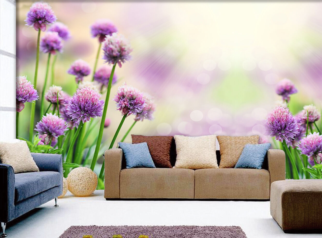 3D Purple dandelion 3 Wall Paper Wall Print Decal Wall Deco Indoor wall Murals