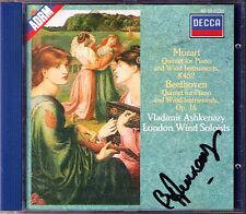 Vladimir Ashkenazy firmato Mozart Beethoven Piano Quintet Londra Winds DECCA CD