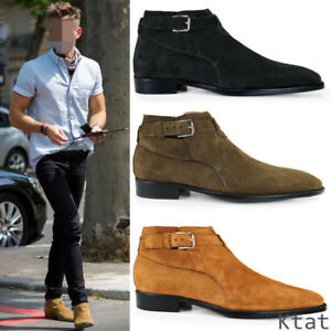 Men Real Leather Suede Chelsea Boots