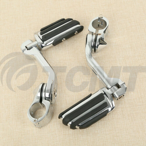 """Long Angled 1 1//4/"""" Mount Highway Foot Pegs For Harley Touring Softail Sportster"""