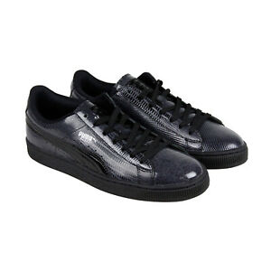 Puma-Basket-Classic-Patent-Croc-Mens-Black-Leather-Lace-Up-Sneakers-Shoes-NWOB