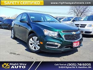 2015 Chevrolet Cruze LT | LOW KMS | SAFETY CERTIFIED