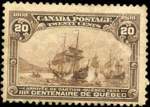 1908-Mint-Canada-F-Scott-103-20c-Quebec-Tercentenary-Issue-Stamp-Hinged