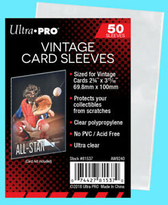 50-Ultra-Pro-VINTAGE-Sports-CARD-SLEEVES-NEW-Topps-Bowman-1952-56-Trading-Penny