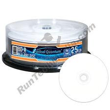 50 Optical Quantum 4x 25GB Blue Blu-ray BD-R White Inkjet HUB Printable Discs