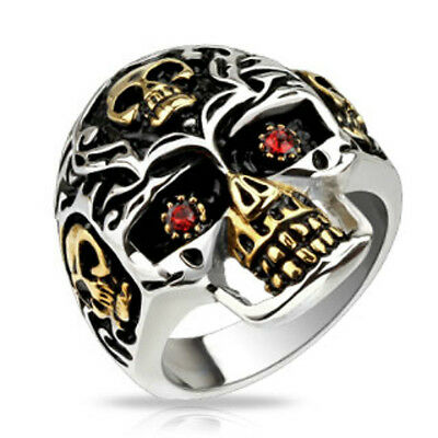 Biker Skull Ruby CZ Eyes Fashion Ring New 316L Stainless Steel Band Sizes 9-14