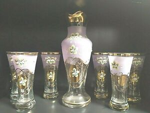Bohemia-crystallite-glass-Water-bier-set-6-1-pink-color-smalt-and-gold