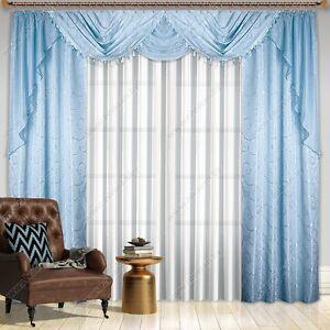 fertiggardinen set paris 2 seitenschals und querbehang himmelblau. Black Bedroom Furniture Sets. Home Design Ideas