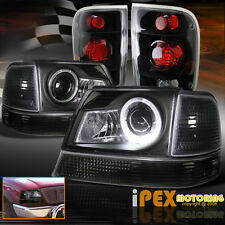 1998-2000 Ford Ranger Halo LED Projector Headlights + Signal W/ Black Tail Light