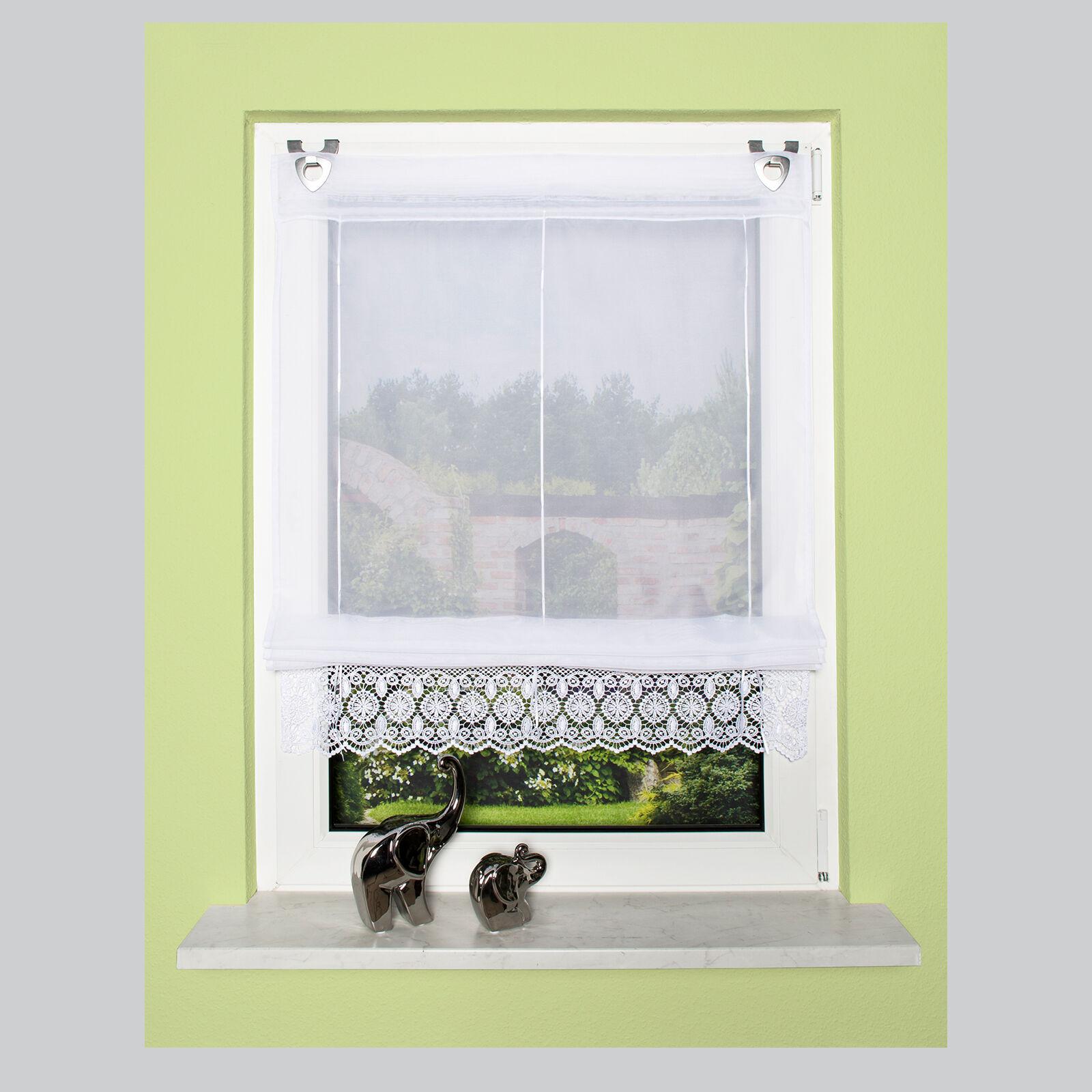 spitze stickerei raffrollo raffstore rollo easyfix home wohnideen schmidtgard ebay. Black Bedroom Furniture Sets. Home Design Ideas